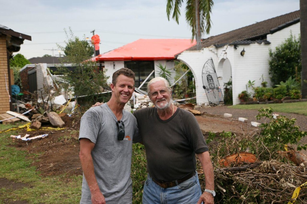 Joe (GIO Policy holder) with Matthew Lennox from Stormseal