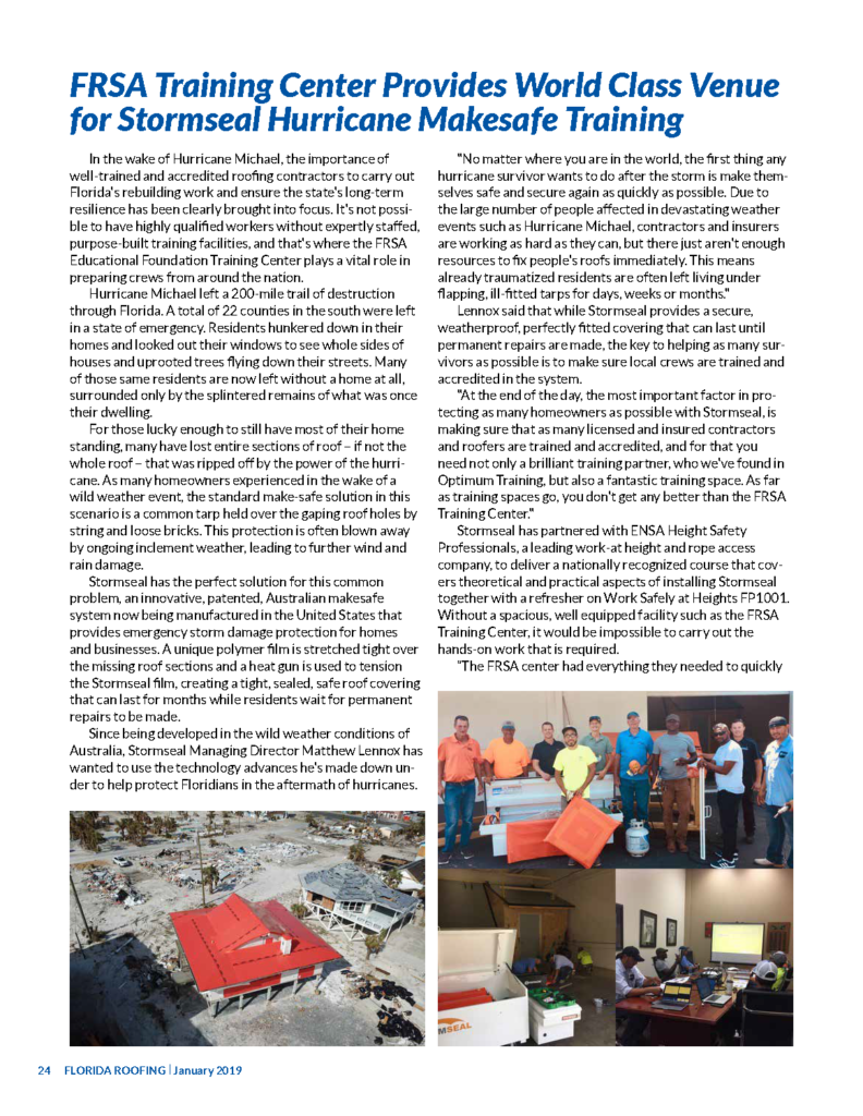 As seen in FRSA Florida Roofing Magazine | Stormseal Installer Accreditation Training