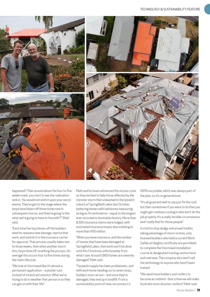 Weathering the storm | As seen in Master Builder magazine | Stormseal